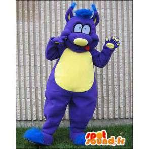 Mascotte de monstre bleu et jaune. Costume de monstre - MASFR005958 - Mascottes de monstres