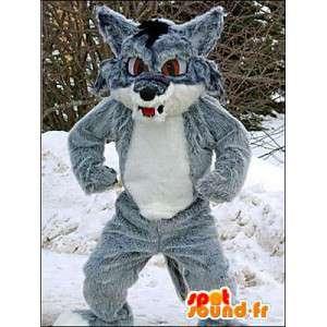 Mascotte de loup gris et blanc. Costume de loup