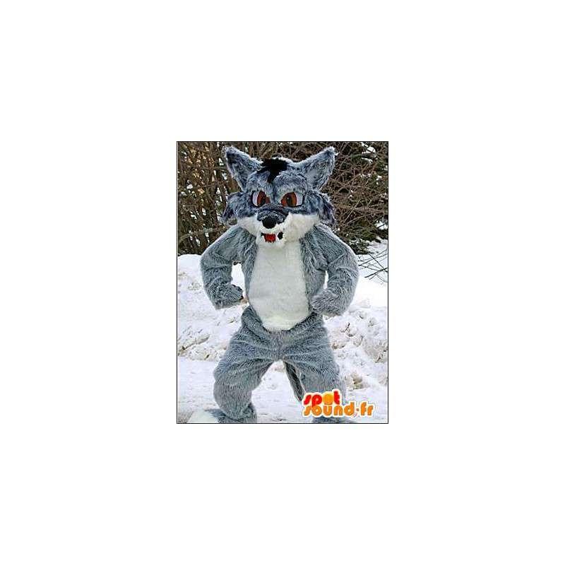 Mascot grau und weiß Wolf.Wolf Kostüm - MASFR005959 - Maskottchen-Wolf