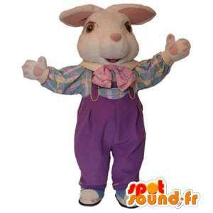 Mascotte de lapin blanc en salopette. Costume de lapin - MASFR005963 - Mascotte de lapins