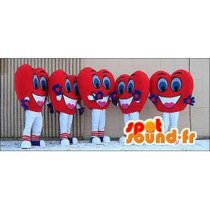 Mascotes vermelhas e corações de sorriso. Pacote de 5 - MASFR005969 - Mascotes não classificados