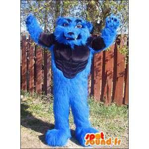 Mascotte de loup bleu musclé. Costume de loup