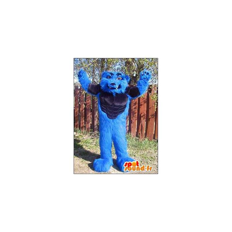 Maskotka mięśniowy niebieski wilk. Kostium wilk - MASFR005970 - wilk Maskotki