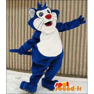 Sininen ja valkoinen kissa maskotti. Blue Cat Costume - MASFR005972 - kissa Maskotteja