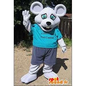 Mascotte de souris grise habillée en bleu. Déguisement de souris