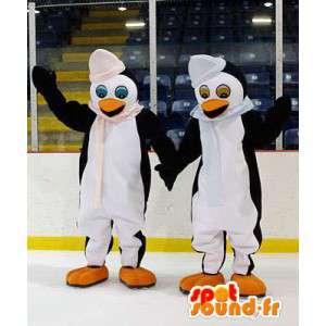 Pinguïnpaar mascotte. Pak van 2