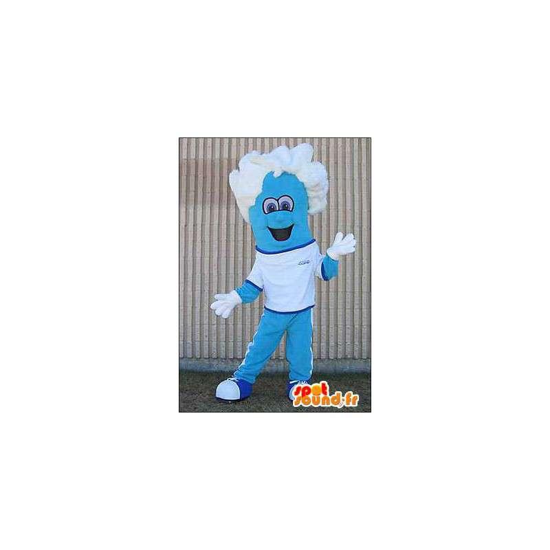 mascotte de bonhomme bleu avec des cheveux blancs dans mascottes homme. Black Bedroom Furniture Sets. Home Design Ideas