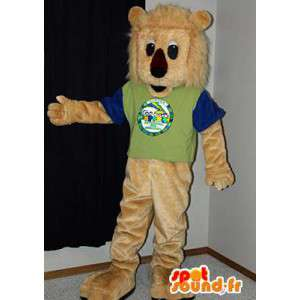 Beige leijona maskotti muhkeat. Lion Costume