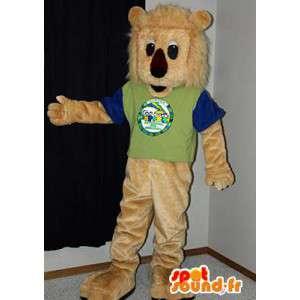 La mascota del león de peluche de color beige.Traje de León