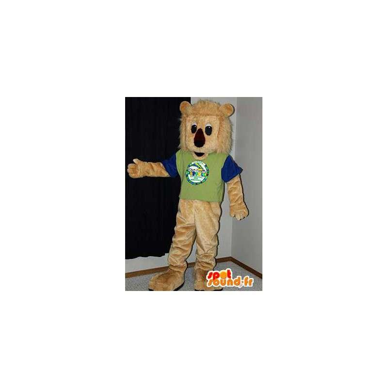 Lion mascot plush beige. Lion costume - MASFR005984 - Lion mascots