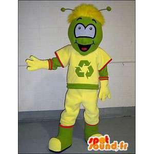 Snowman mascot green, recycling - MASFR005988 - Human mascots