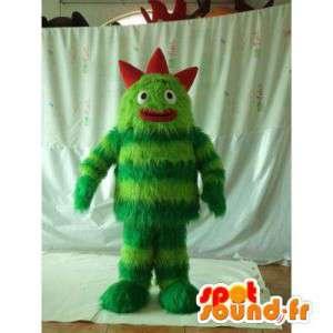 Maskot zelené a červené monstrum. chlupatá příšera kostým