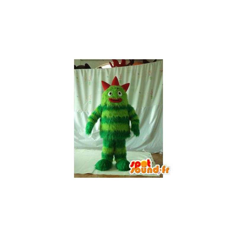 Maskot zelené a červené monstrum. chlupatá příšera kostým - MASFR006003 - Maskoti netvoři