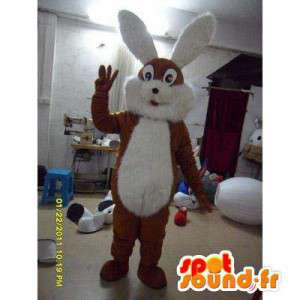 Mascot bunny brown and white with big ears - MASFR006004 - Rabbit mascot