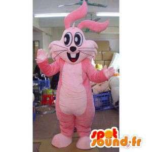Mascotte de lapin rose, géant. Costume de lapin
