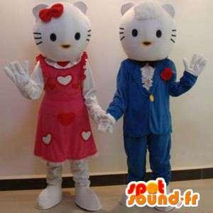 Par maskot, Hello Kitty og hendes kæreste. Pakke med 2 -