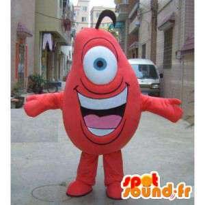 Mascot monstro vermelho em um olho