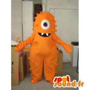 Mascote monstro laranja em um olho. terno laranja