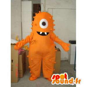 Oranje monster mascotte één oog. oranje pak