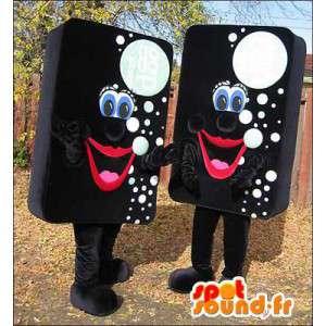 Mascottes d'éponges noires avec des bulles blanches. Pack de 2