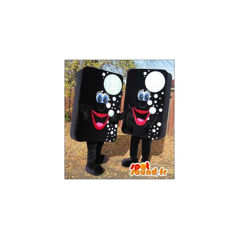Mascottes zwart spons met witte bubbels. Pak van 2 - MASFR006043 - mascottes objecten