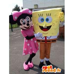Maskot Minnie og Svampebob. Pakke med 2