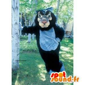 Mascot schwarzen und grauen Wolf.Wolf Kostüm