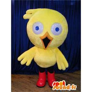 マスコットのひよこ、赤いブーツの黄色いカナリア-MASFR006075-鶏のマスコット-オンドリ-鶏
