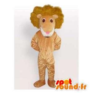 Beige leeuw mascotte pluche. leeuwkostuum