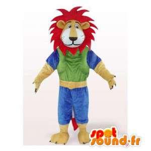 Kleurrijke leeuw mascotte met een rode manen. leeuwkostuum