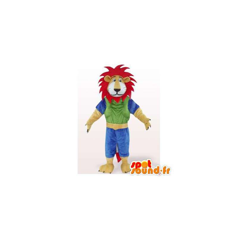 Lion mascot colored with a red mane. Lion costume - MASFR006084 - Lion mascots