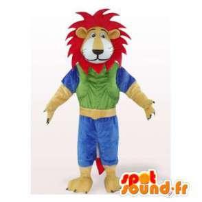 Mascotte de lion coloré avec une crinière rouge. Costume de lion - MASFR006084 - Mascottes Lion