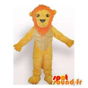 Mascota del león de color amarillo y naranja.Traje de León