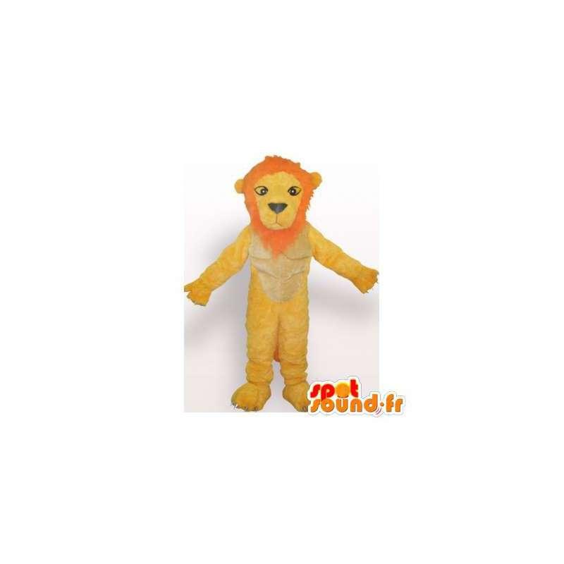 Mascotte de lion jaune et orange. Costume de lion - MASFR006085 - Mascottes Lion