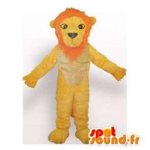 Lion Maskottchen gelb und orange.Lion Kostüm - MASFR006085 - Löwen-Maskottchen
