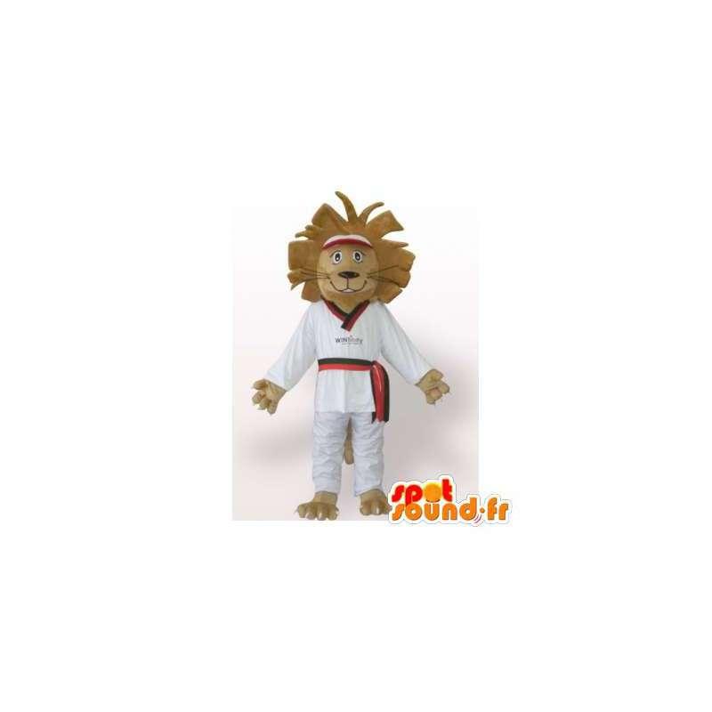 Löwe-Maskottchen im weißen Kimono.Lion Kostüm Judoka - MASFR006086 - Löwen-Maskottchen
