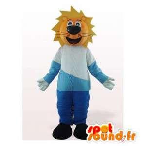 Mascotte de lion habillé en bleu et blanc. Costume de lion