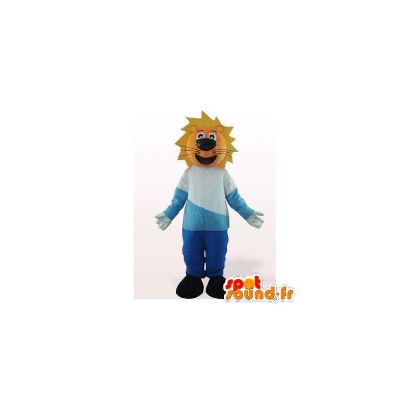Leeuw mascotte gekleed in blauw en wit. leeuwkostuum - MASFR006089 - Lion Mascottes