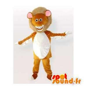 Leone mascotte arancione e bianco. Lion costume