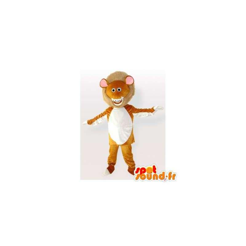 Lion mascot orange and white. Lion costume - MASFR006090 - Lion mascots