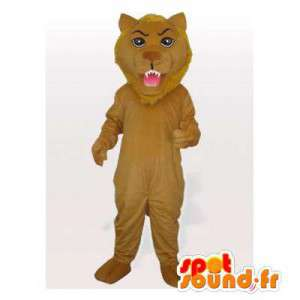 Mascotte de lion marron. Costume de lion