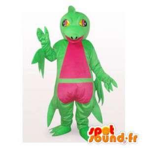 Μασκότ πράσινο και ροζ βάτραχος. βάτραχος κοστούμι