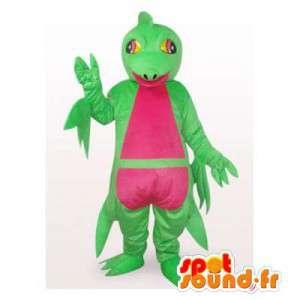 Mascot rana verde y rosa.Traje de la rana