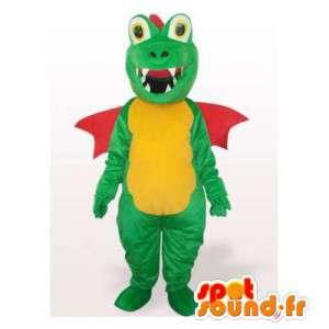 Groene draak mascotte, geel en rood. draakkostuum