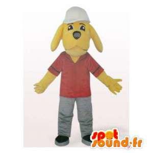 Pracownik żółty pies maskotka. pracownik sukienka - MASFR006099 - dog Maskotki