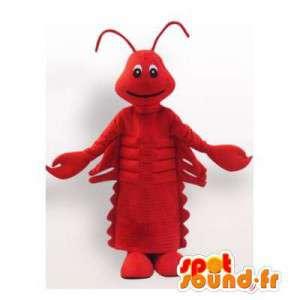 Mascotte de homard rouge géant. Costume de homard