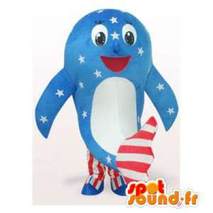 Mascotte de baleine aux couleurs américaines