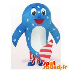 Whale maskot s americkými barvami