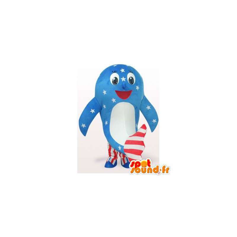 Whale mascot American colors - MASFR006108 - Mascots of the ocean