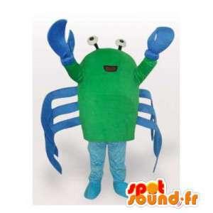緑と青のカニのマスコット。カニのコスチューム